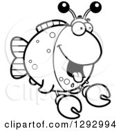 Lineart Clipart Of A Black And White Cartoon Hungry Imitation Crab Fish Royalty Free Outline Vector Illustration
