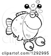 Lineart Clipart Of A Black And White Cartoon Infatuated Imitation Crab Fish With Love Hearts Royalty Free Outline Vector Illustration by Cory Thoman