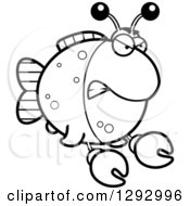 Lineart Clipart Of A Black And White Cartoon Angry Imitation Crab Fish Royalty Free Outline Vector Illustration by Cory Thoman