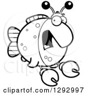 Lineart Clipart Of A Black And White Cartoon Scared Screaming Imitation Crab Fish Royalty Free Outline Vector Illustration by Cory Thoman