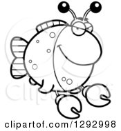 Lineart Clipart Of A Black And White Cartoon Sly Imitation Crab Fish Royalty Free Outline Vector Illustration by Cory Thoman