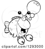 Lineart Clipart Of A Black And White Cartoon Happy Imitation Crab Fish Talking Royalty Free Outline Vector Illustration by Cory Thoman