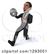 Clipart Of A 3d Happy Young Black Businessman Walking And Pointing To A Dumbbell Royalty Free Illustration by Julos