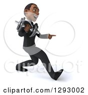 Clipart Of A 3d Happy Young Black Businessman Facing Right Walking With A Dumbbell And Pointing Royalty Free Illustration
