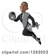 Clipart Of A 3d Happy Young Black Businessman Flying With Dumbbells Royalty Free Illustration