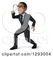 Clipart Of A 3d Happy Young Black Businessman Facing Left And Searching Through A Magnifying Glass Royalty Free Illustration by Julos