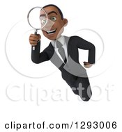 Clipart Of A 3d Happy Young Black Businessman Flying And Searching Through A Magnifying Glass Royalty Free Illustration
