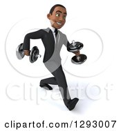 Clipart Of A 3d Happy Young Black Businessman Walking With Dumbbells Royalty Free Illustration by Julos