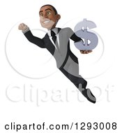 Clipart Of A 3d Happy Young Black Businessman Flying Up To The Left And Holding A Dollar Symbol Royalty Free Illustration