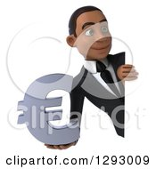Clipart Of A 3d Happy Young Black Businessman Holding A Euro Currency Symbol Around A Sign Royalty Free Illustration