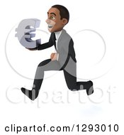 Clipart Of A 3d Happy Young Black Businessman Running To The Left With A Euro Currency Symbol Royalty Free Illustration