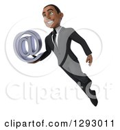 3d Happy Young Black Businessman Holding An Email Arobase Symbol And Flying