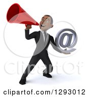 Clipart Of A 3d Happy Young Black Businessman Holding An Email Arobase Symbol And Announcing With A Megaphone Royalty Free Illustration