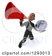 3d Happy Young Black Businessman Holding An Email Arobase Symbol And Announcing Upwards With A Megaphone