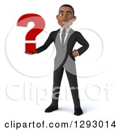 Clipart Of A 3d Happy Young Black Businessman Holding A Question Mark Royalty Free Illustration
