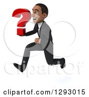 Clipart Of A 3d Happy Young Black Businessman Sprinting To The Left With A Question Mark Royalty Free Illustration