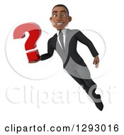 Clipart Of A 3d Happy Young Black Businessman Flying And Holding A Question Mark Royalty Free Illustration