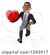 Clipart Of A 3d Happy Young Black Businessman Sprinting Forward With A Love Heart Royalty Free Illustration by Julos