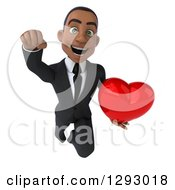 Clipart Of A 3d Happy Young Black Businessman Flying Forward With A Love Heart Royalty Free Illustration