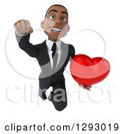 Clipart Of A 3d Happy Young Black Businessman Smiling Upwards And Flying Forward With A Love Heart Royalty Free Illustration