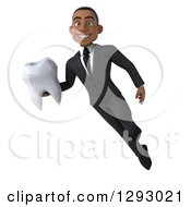 Clipart Of A 3d Happy Young Black Businessman Flying And Holding A Tooth Royalty Free Illustration