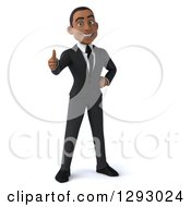 Clipart Of A 3d Happy Young Black Businessman Giving A Thumb Up Royalty Free Illustration by Julos