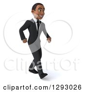 Clipart Of A 3d Happy Young Black Businessman Smiling And Walking To The Right Royalty Free Illustration by Julos