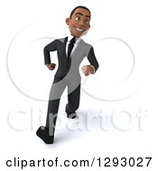 Clipart Of A 3d Happy Young Black Businessman Smiling And Walking With Big Strides Royalty Free Illustration by Julos