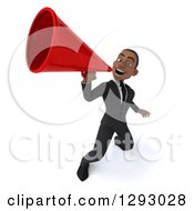 Clipart Of A 3d Happy Young Black Businessman Announcing Upwards With A Megaphone Royalty Free Illustration