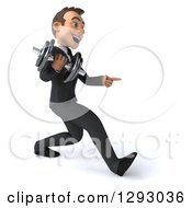 Clipart Of A 3d Happy Young Brunette White Businessman Pointing And Speed Walking To The Right With A Dumbbell Royalty Free Illustration