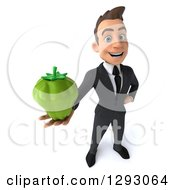 Clipart Of A 3d Happy Young Brunette White Businessman Holding Up A Green Bell Pepper Royalty Free Illustration