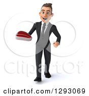 Clipart Of A 3d Happy Young Brunette White Businessman Walking With A Beef Steak Royalty Free Illustration