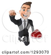 Clipart Of A 3d Happy Young Brunette White Businessman Flying Forward With A Beef Steak Royalty Free Illustration