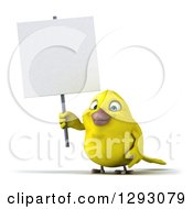 Clipart Of A 3d Happy Yellow Bird Holding A Blank Sign Royalty Free Illustration