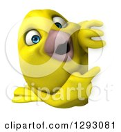 Clipart Of A 3d Happy Yellow Bird Pointing Around A Sign Royalty Free Illustration