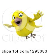 Clipart Of A 3d Excited Yellow Bird Flying Slightly To The Left Royalty Free Illustration