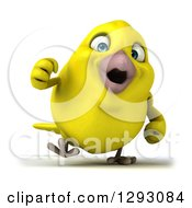 Clipart Of A 3d Excited Yellow Bird Walking Royalty Free Illustration