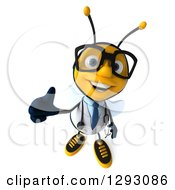 Clipart Of A 3d Happy Bespectacled Bee Doctor Holding Up A Thumb Royalty Free Illustration