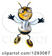Clipart Of A 3d Happy Bespectacled Bee Doctor Jumping Royalty Free Illustration