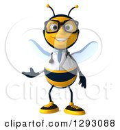 Clipart Of A 3d Happy Bespectacled Bee Doctor Presenting Royalty Free Illustration