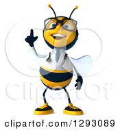 Clipart Of A 3d Happy Bespectacled Bee Doctor Looking And Pointing Up Royalty Free Illustration