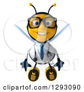 Clipart Of A 3d Happy Bespectacled Bee Doctor Flying Royalty Free Illustration