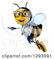 Clipart Of A 3d Happy Bespectacled Bee Doctor Flying And Pointing To The Left Royalty Free Illustration