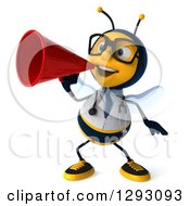 Clipart Of A 3d Happy Bespectacled Bee Doctor Announcing With A Megaphone Royalty Free Illustration