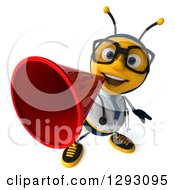 Clipart Of A 3d Happy Bespectacled Bee Doctor Announcing Upwards With A Megaphone Royalty Free Illustration