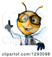 Clipart Of A 3d Happy Bespectacled Bee Doctor Holding A Finger Up Over A Sign Royalty Free Illustration