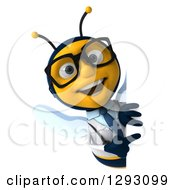 Clipart Of A 3d Happy Bespectacled Bee Doctor Pointing Around A Sign Royalty Free Illustration
