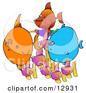 Colorful School Of Mixed Tropical Fish Clipart Illustration