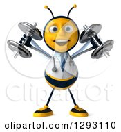 Clipart Of A 3d Happy Bee Doctor Working Out And Doing Shoulder Presses With Dumbbells Royalty Free Illustration
