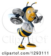 Clipart Of A 3d Happy Bee Doctor Facing Right Working Out And Doing Shoulder Presses With Dumbbells Royalty Free Illustration